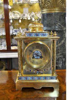 Victorian brass enamel clock