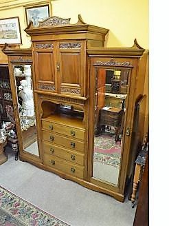 Victorian three piece wardrobe with bevelled mirrors