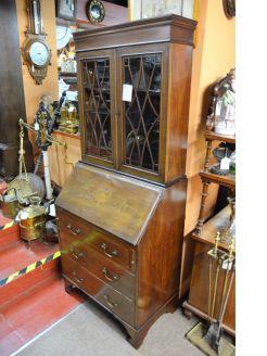 Edwardian mahogany bureau / bookcase