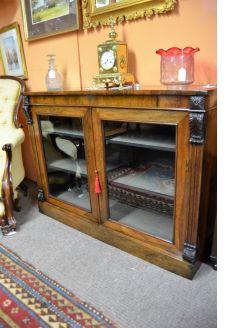 Victorian floor two door rosewood bookcase