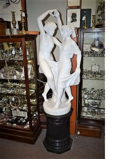 Carved marble figures & pedestal