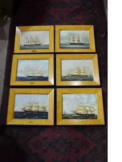 Set of six wedgewood framed porcelain plaques