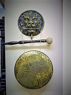 Brass hanging gong, lion mask