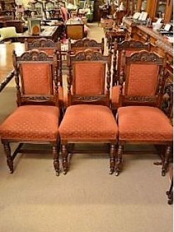 Set of six victorian oak dining chairs