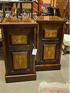 Pair of mahogany pedestals with inlay