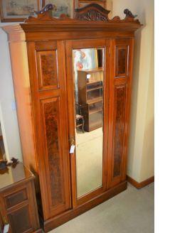 Mahogany single mirror door wardrobe