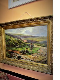 Large gilt framed oil painting signed