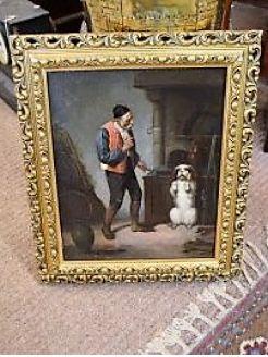 Gilt framed oil painting  (italian school)