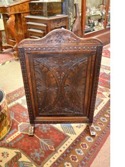 Oak carved fire screen