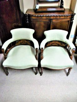 Pair of inlaid edwardian tub chairs
