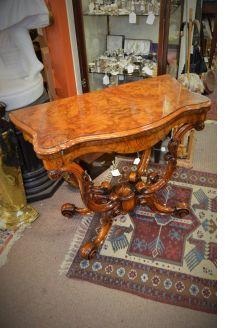 Victorian burr walnut card table