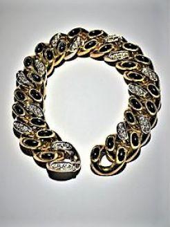 10ct gold & diamond & sapphire& bracelet