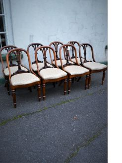Set of eight victorian carved chairs
