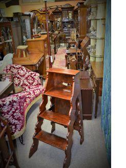 Victorian mahogany library steps