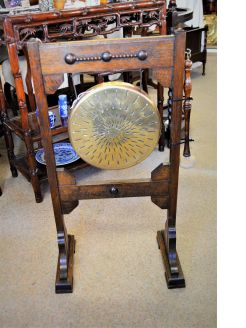 Brass and oak gong