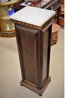 Marble & mahogany  topped pedestal