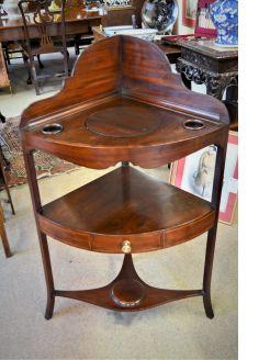 19th century mahogany corner washstand