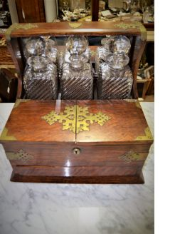 oak & brass cased tantalus