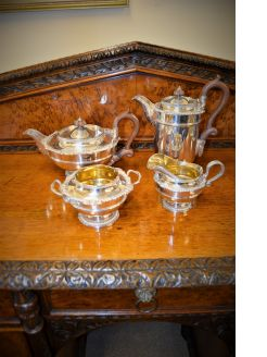 Four piece silver tea service