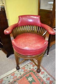Oak swivel desk armchair