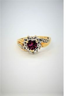10ct gold ruby & diamond ring