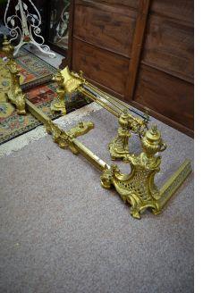 Brass fender & dog irons set