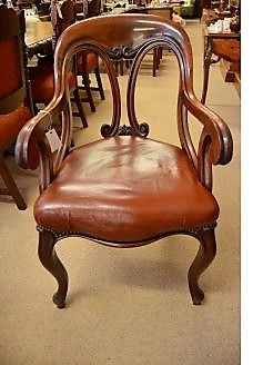 Victorian mahogany & leather desk / armchair