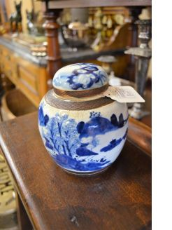 Chinese crackleware jar & cover