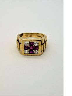 Gents 9ct gold & ruby ring
