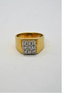 Gents 18ct gold & diamond ring