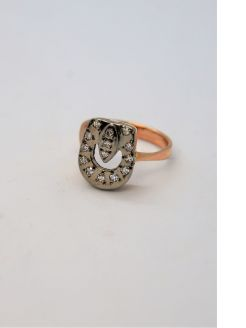 14ct gold & diamond russian ring