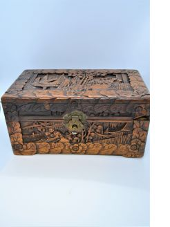 Chinese carved camphor wood box