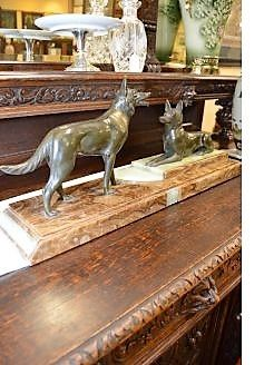 Art deco bronze & marble dog group