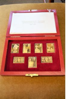 Cased set of silver gilt coins