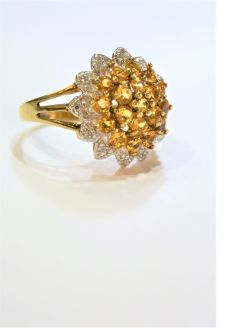 18ct gold & diamond & gemstone ring