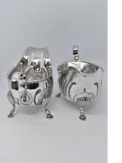 Pair of irish silver sauce boats