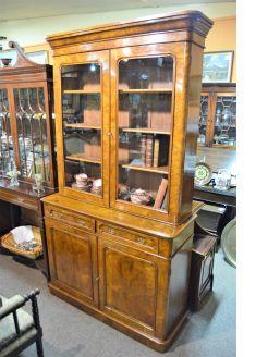 Burr-walnut bookcase
