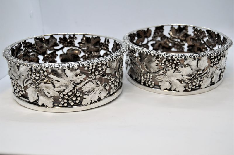 Pair of Georgian silver coasters