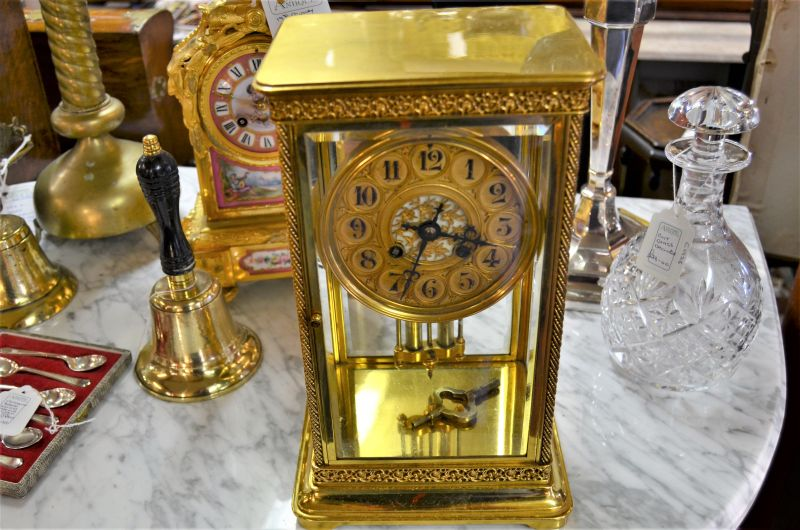 Victorian brass, four glass mantle clock