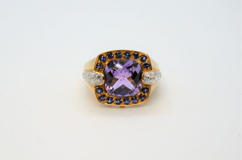 9ct gold diamond & amethyst ring
