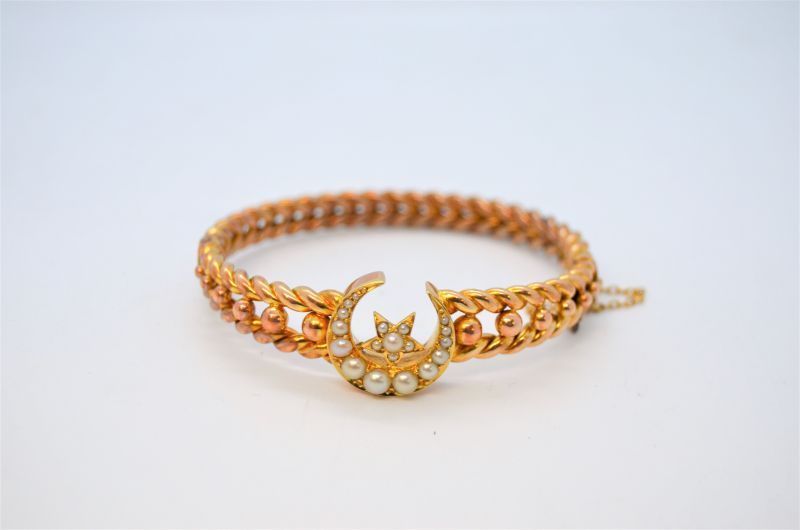 Victorian 15ct gold & pearl bracelet