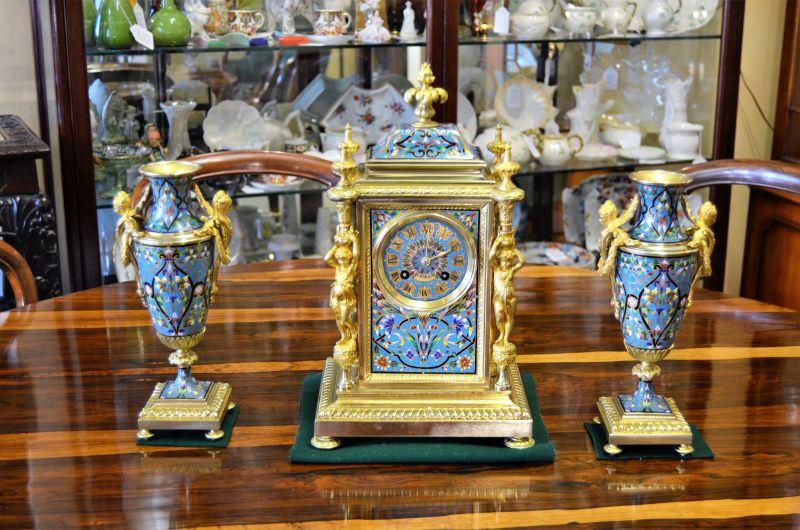 Gilt bronze & enamel three piece clock set