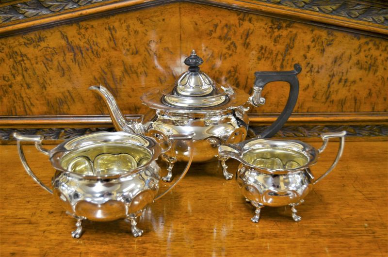 Three piece silver tea set
