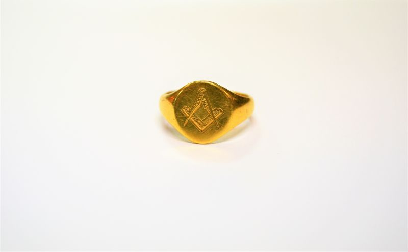 18ct gold masonic ring(SKU11450)