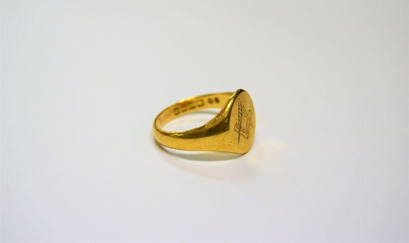 18ct gold masonic ring(SKU11450)