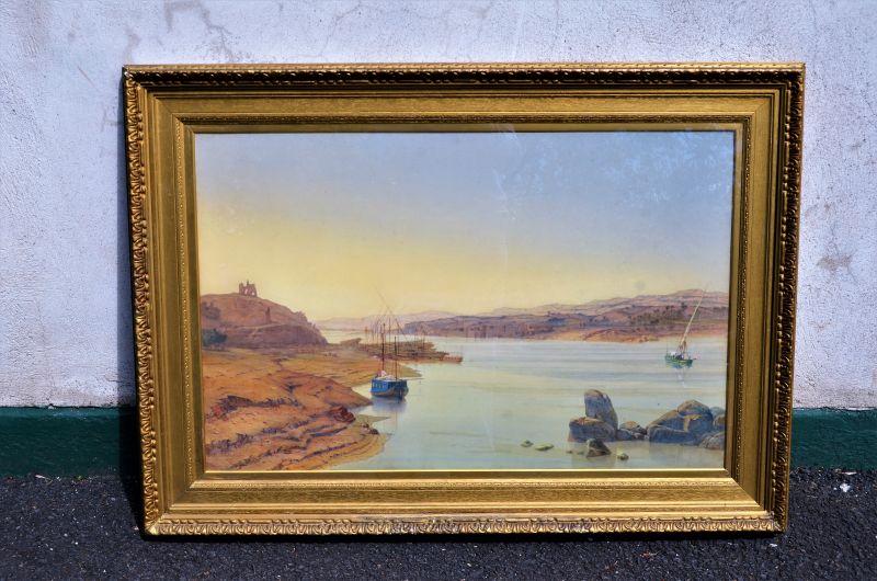19th century gilt framed watercolour,signed