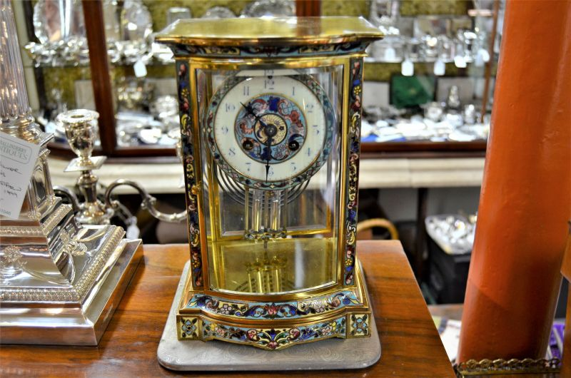 Victorian brass & cloisonne clock