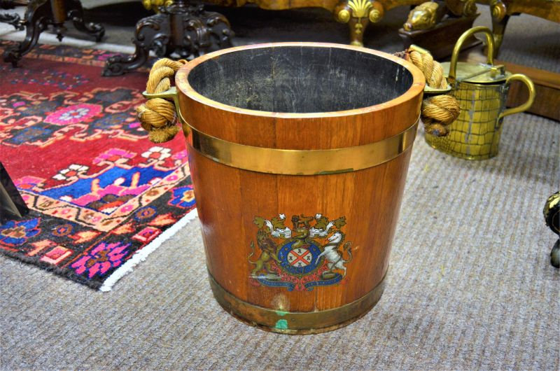 Mahogany brass bound bucket with roped handle