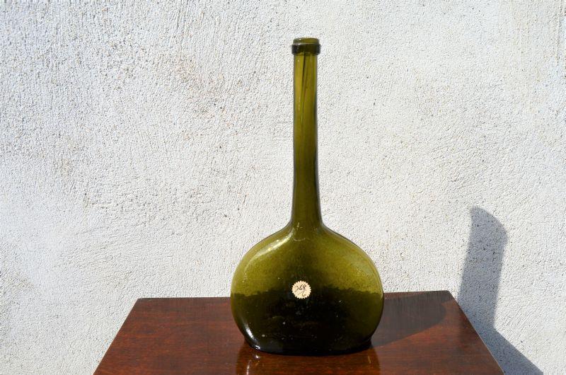 18th century green glass wine bottle
