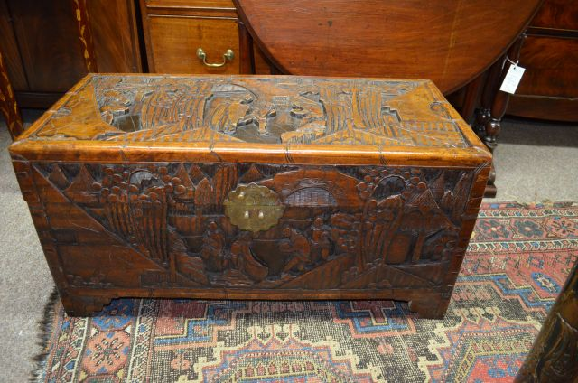 Chinese Camphor Wood Carved Trunk Sku6901
